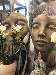 Gesichter Steinguss Vidroflor Mann und Frau